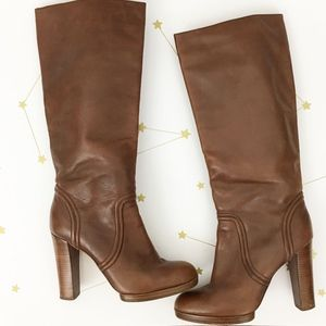 Michael Kors • Brown Leather Aila Knee High Boots